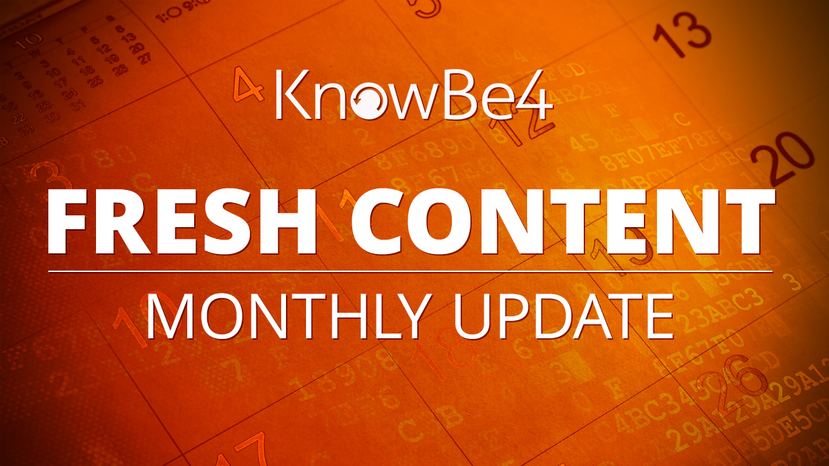 September Fresh Content Updates from KnowBe4: Get Your 2020 Resource Kit for National Cybersecurity Awareness Month