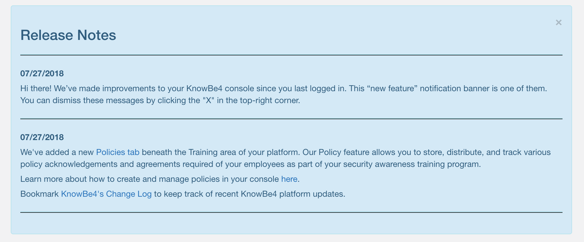 KnowBe4 Fresh Content Update & New Features July 2018