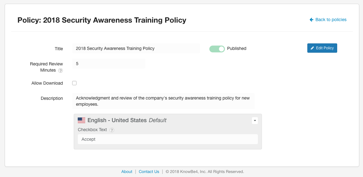 New Policy Feature Added to the KnowBe4 Platform