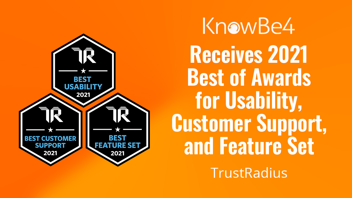 """KnowBe4 Wins Multiple 2021 """"Best of"""" Awards From TrustRadius"""