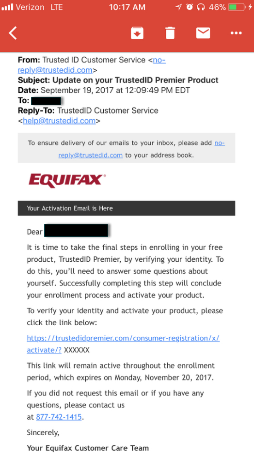 Equifax appears to be training recipients to fall for phishing scams